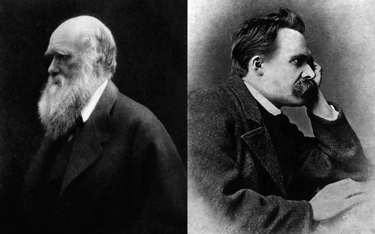 portraits of Darwin and Nietzsche facing away from each other